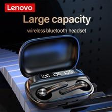 Lenovo qt81 tws verdadeiro controle de toque bluetooth fones de ouvido sem fio display led grande bateria 1200mah caixa carregamento