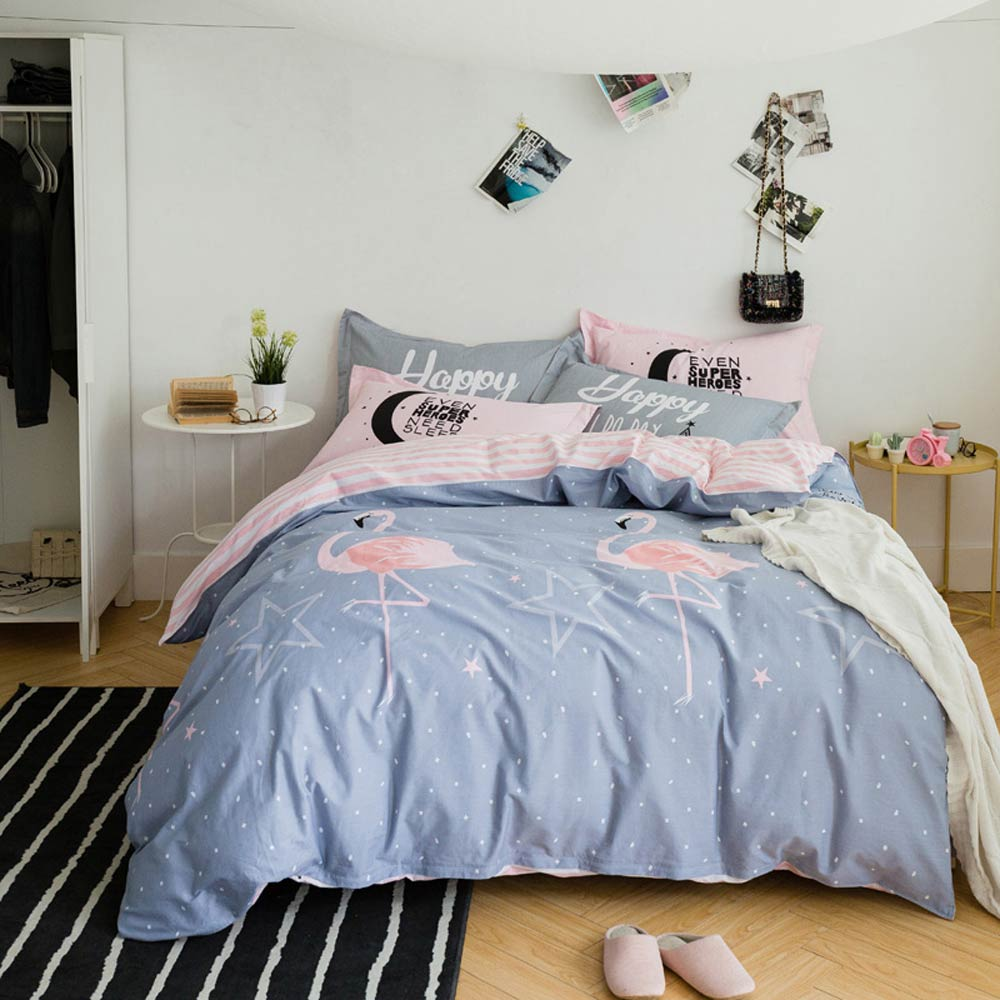 Svetanya Duvet Cover+Pillowcases 3in1 Cotton Bedding Sets Printed Linens