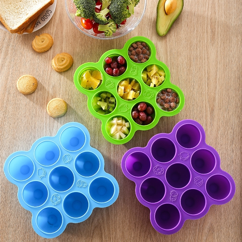 Multifunction Safety Silicone Baby Infant Flower Lattice Food Container Fruit Storage Box Freezer Tray Cup Cake Mold