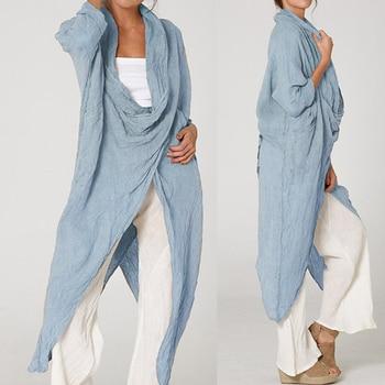 Plus Size Women Tops and Blouse 2021 Celmia Autumn Vintage Long Blouses Casual Cowl Neck Long Sleeve Asymmetric Party Blusas 5XL 1