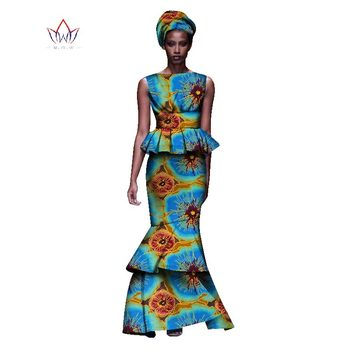 2020 New African Dresses For Women Dashiki Ladies Clothes Ankara O-Neck Africa Clothes Two Pieces Set Natural 6xl None WY1054 - 5, M