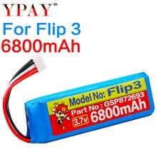 цена на High capacity GSP872693 3.7v 6800mah battery for JBL Flip 3 Flip 3 GRAY GSP872693 P763098 03