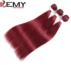 Image 3 - 99J/Burgundy Red Color Brazilian Straight Human Hair Bundles With Frontal 13x4 KEMY Pre Colored 3 Bundles With Closure Non Remy
