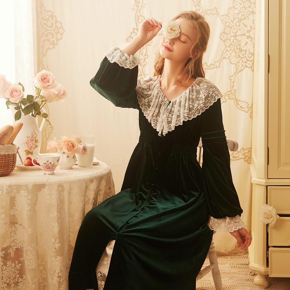 Robe femmes princesse dentelle velours Robe femme automne mariée Robe de chambre douce belle longue Robe vêtements de nuit