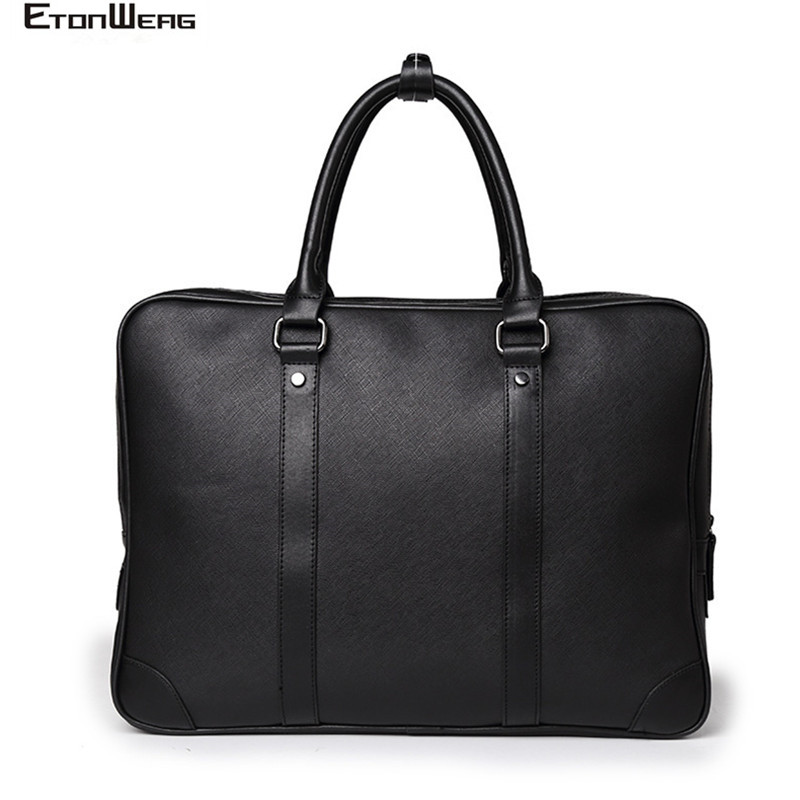Business Office Men's Briefcase Brand Leather Handbag Male Computer Laptop Bag Women Solid Black Tote Casual 2019