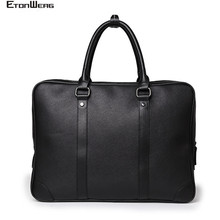 Business office Mens Briefcase Brand Leather Handbag male Computer Laptop bag women Solid Black Tote Casual 2019