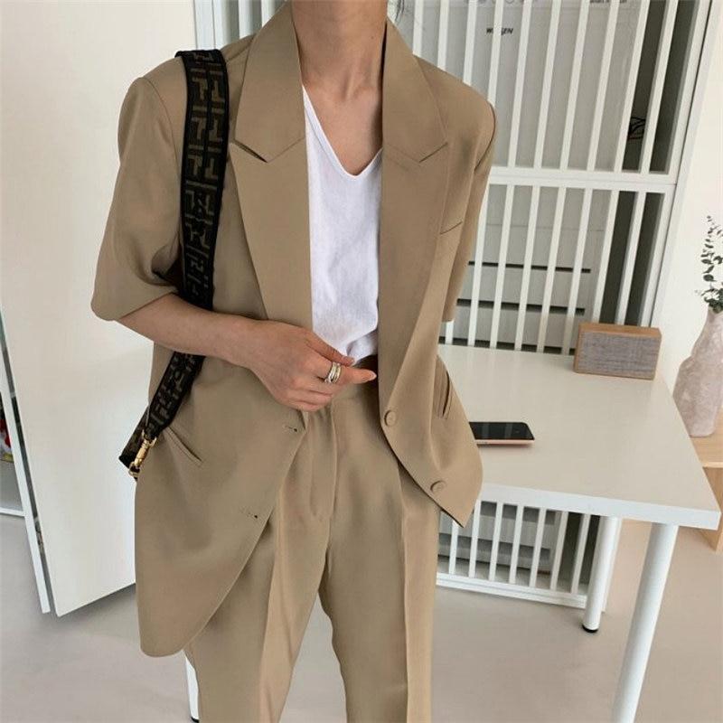 HziriP 2020 Hot Elegance Short Sleeves Vintage Gentle OL Blazer +Straight Office Lady Women Loose Trouser Suits 2 Piece Sets