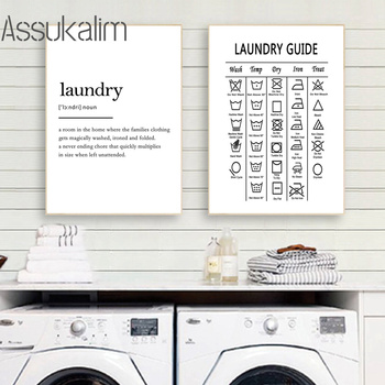 Laundry Guide Canvas Painting Wall Art Laundry Cheat Sheet Poster Print Minimalist Art Poster Wall Pictures For Bathroom Decor michael larsen my cheat sheet for sunday