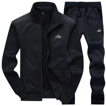 2020 Gym Spring Jacket + Pants Casual Tracksuit Men Sportswear Tracksuits Men Polyester Sweatshirt Sporting Fleece ropa hombre