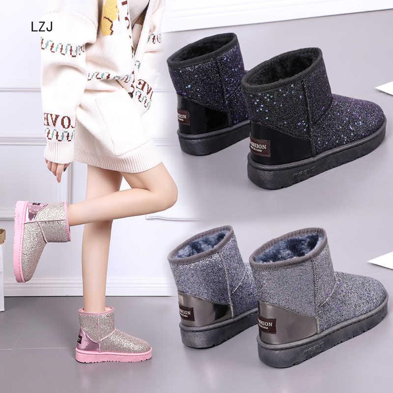 Nuevas Botas cálidas de Invierno para Mujer Botas de tobillo Botas de nieve para niñas Zapatos de gamuza con plantilla de felpa Botas Mujer Zapatos de Mujer