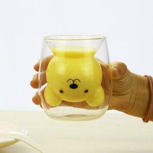 Image 2 - 250ml קריקטורה בעלי החיים דוב קפה ספל חמוד חתול כפול זכוכית מיץ כוס קפה ספלי creative כוסות וספלים