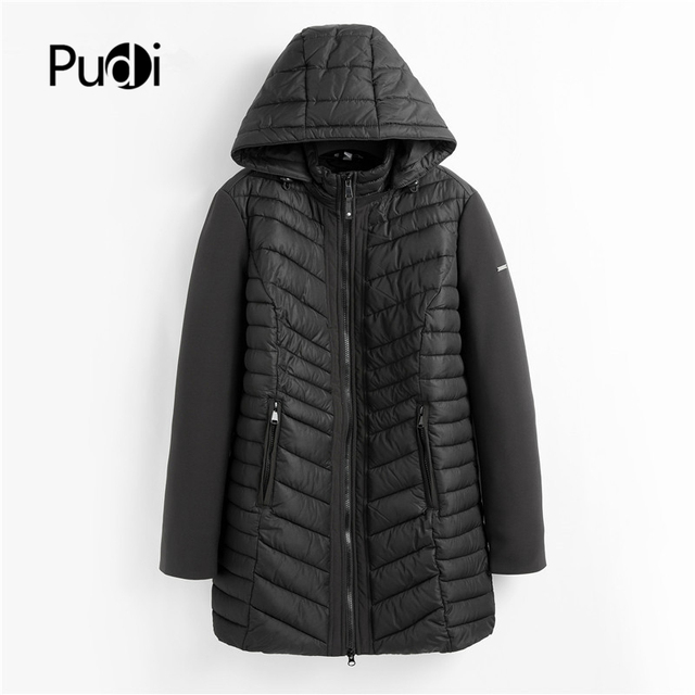 PUDI QY902 Women Cotton Parka Winter Woman Long Casual Jacket Solid Color Hooded Coats And Jackets Spring Autumn Warm Outwear 1