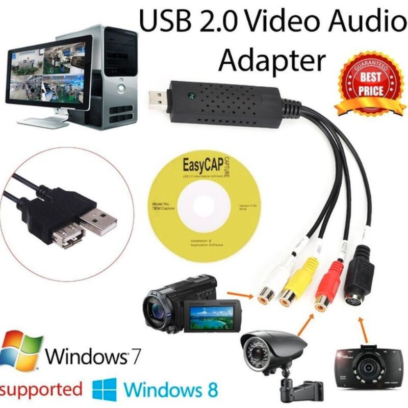 Easycap USB 2.0 Easy Cap Video TV DVD VHS DVR Capture Adapter Vhs Video CaptureCard Device Support Win10 For MAC IOS Drive Free