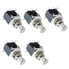 цена на 5Pcs 6 Pin Dpdt Latching Stomp Foot Switch Pedal Guitar Push Button Metal True Bypass Ac 250V/2A 125V/4A
