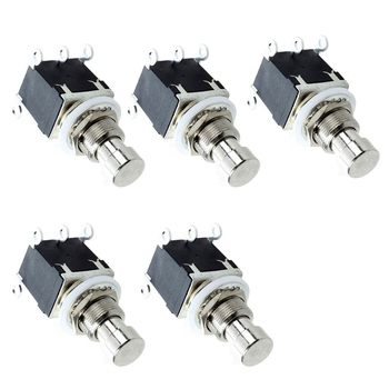 цена на 5Pcs 6 Pin Dpdt Latching Stomp Foot Switch Pedal Guitar Push Button Metal True Bypass Ac 250V/2A 125V/4A