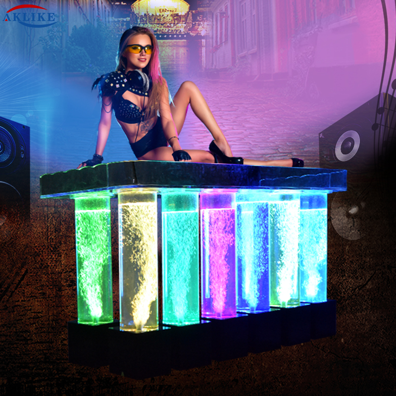 AKLIKE Dj Light With Lights Led Acrylic Dj Table Bar Table For Bar, Dj Equipment DJ Booth Dj Laptop Stand Dj Laser Lights