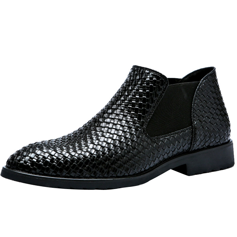 Spring and Summer Hand-woven Men's Leather Boots Classic Fashion Boots Martin Boots Men's Chelsea Boots Men Boots Men Black