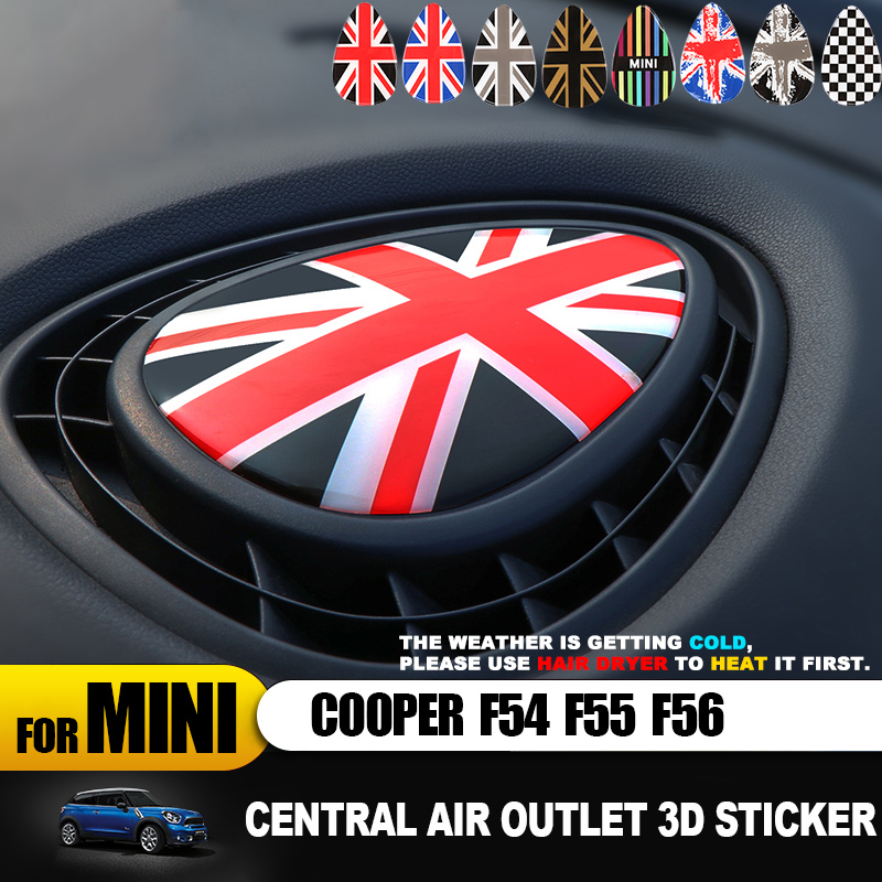 Union Jack Center Air Outlet 3D Dedicated Cover Protect Sticker Decal For MINI COOPER F54 F55 F56 Clubman Interior Accessories