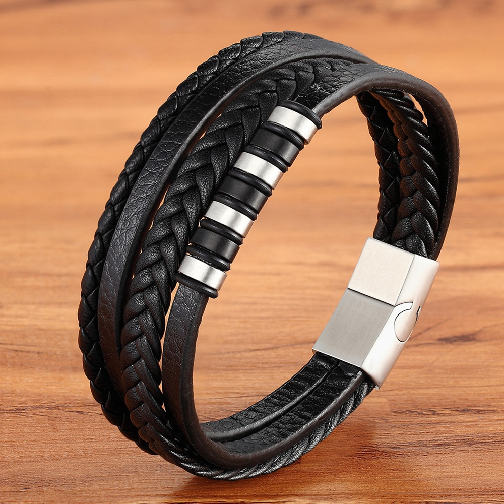 Classic Multi-layer Luxury Style Stainless Steel Men's Leather Bracelet Hand-woven Customizable DIY Quality Drop Shipping