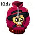 Luta dos desenhos animados encabeça roupas adolescentes poco shelly 8 a 19 anos crianças moletom jogo de tiro leon 3d impresso hoodie meninos meninas