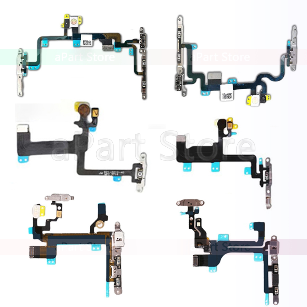 High Quality Mute & Volume Power Buttons Key Switch Flex Cable For IPhone 6 6s 7 8 Plus 5 5s SE 5C With Metal Parts Replacement