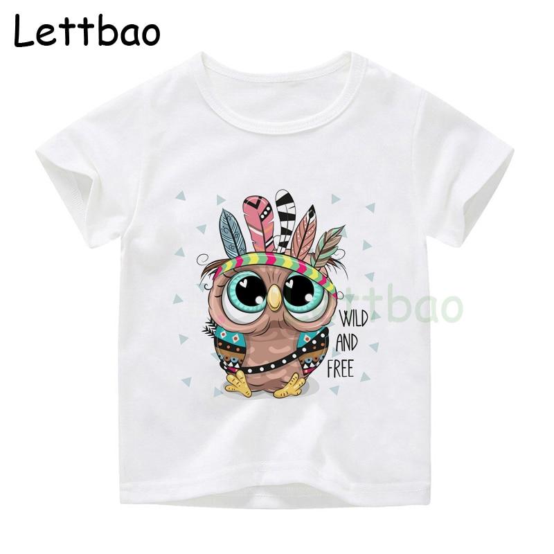 Cartoon Cool Cartoon Tribal Owl Children Funny T-Shirt Baby Boys Girls Summer Casual Tops T Shirt Kids Clothes(China)