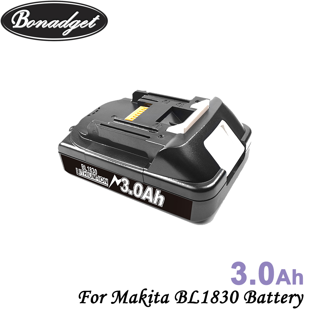 Bonadget Rechargeable 18V 3000Ah Lithium Battery For Makita BL1830 BL1815 BL1860 BL1840 194205-3 Replacement Power Tools Battery