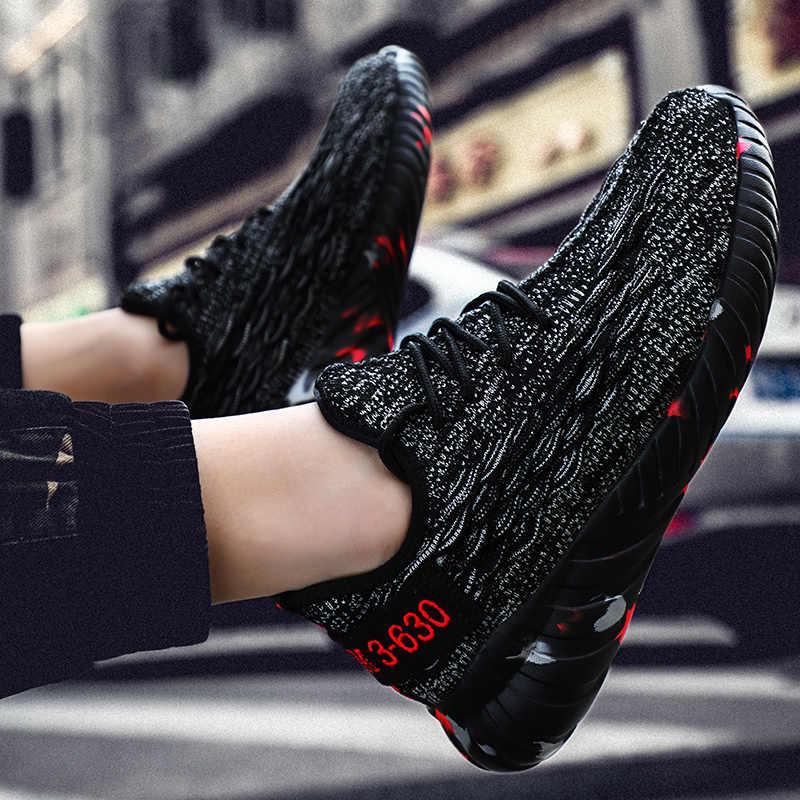 Брендовые новые модные трикотажные кроссовки для мужчин хит продаж удобная мягкая прогулочная обувь Летняя повседневная обувь на шнуровке Большие размеры 14 48