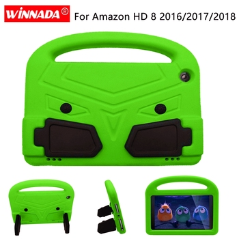 For Amazon Kindle Fire HD 8 2017 Case Kids Tablet Shell shockproof EVA Hand-held Stand Cover for Kindle Fire HD8 2018 2016 tablet case 7 inch universal tablet pc protective shell for children shockproof cover eva handle stand for amazon kindle fire