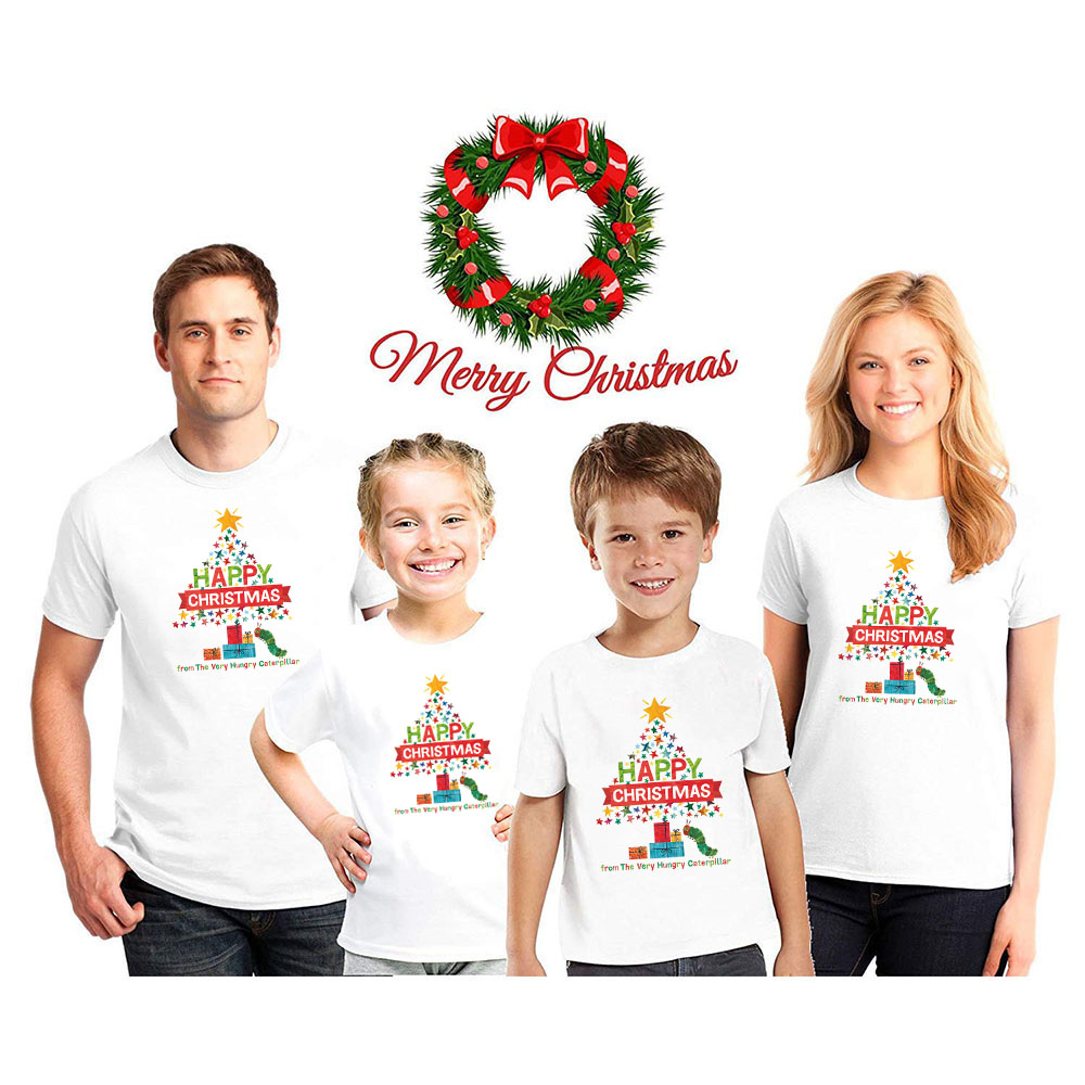 1pc Happy Christmas From The Very Hungry Caterpillar Funny Print Christmas Family Look Tshirts Boys Girls Parents Family Clothes