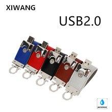 Pen drive USB 2.0 32GB Leather USB flash drive 64gb 128GB 16GB 8GB 4GB metal Silver Wrist keyring Pendrive USB memory stick цена и фото
