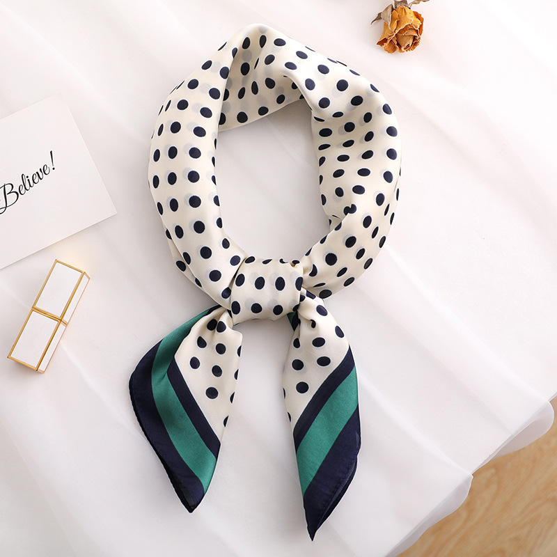 Summer Silk Small Neck Scarf Soft Comfortable Foulard Square Crumple Crinkle Handkerchief Dot Bandana Airline Hostess Print 1PC in Women 39 s Scarves from Apparel Accessories