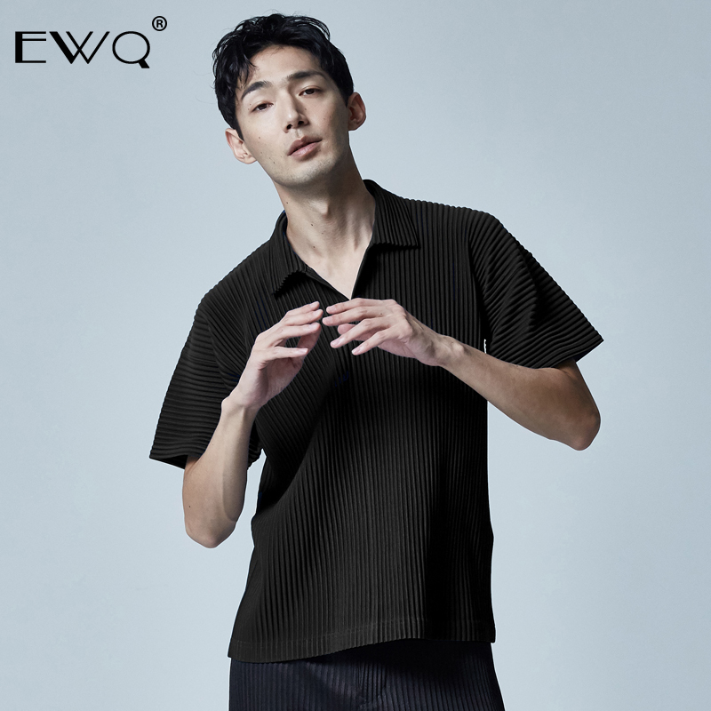 EWQ / men's clothes Pleated short-sleeved T-shirt for male 2020 spring summer new Japanese pleated lapel short sleeve tops 9Y467