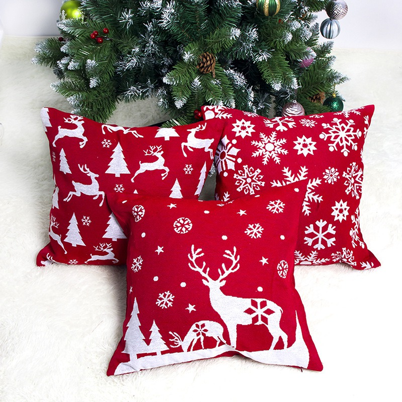 1PC Home Pillowcase Red Christmas Pattern Printed Throw Pillow Cover Soft Snowflake Square