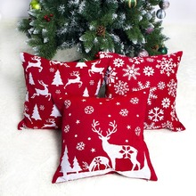 цены 1PC Home Pillowcase Red Christmas Pattern Printed Throw Pillow Cover Soft Cover Snowflake Square Pillowcase Cover