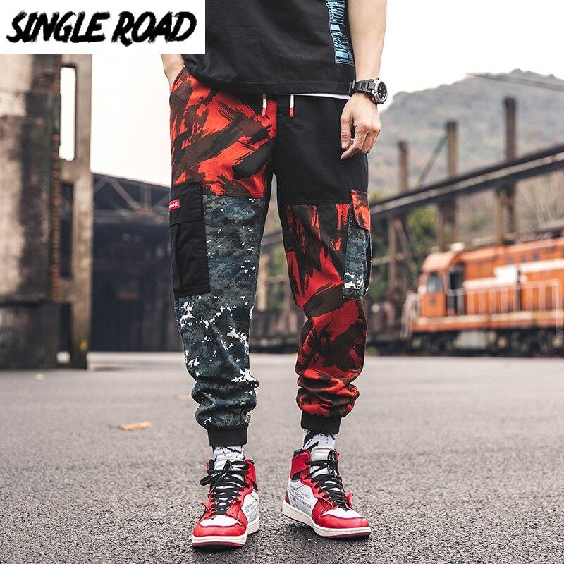 SingleRoad Men's Side Pockets Cargo Pants Men Hip Hop Patchwork Joggers Streetwear Male Camouflage Casual Harem Pants Sweatpants