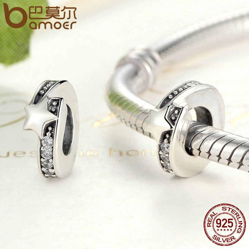 BAMOER DIY koraliki i do produkcji biżuterii 100% 925 srebro gwiazda Charm fit bransoletka kobiety moda biżuteria SCC100