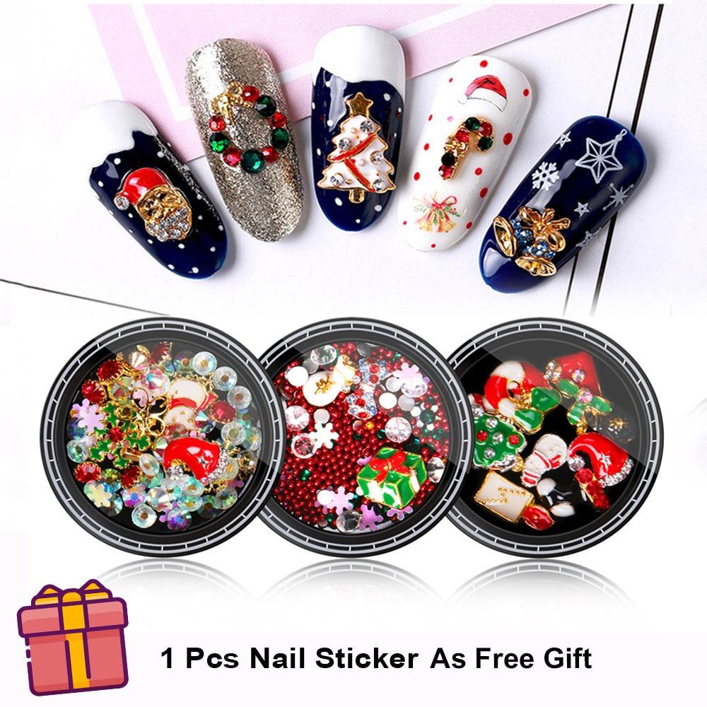 1 коробка 3D Рождественское украшение для дизайна ногтей металлические подвески DIY аксессуары из стразов Снеговик Санта-дерево ювелирные