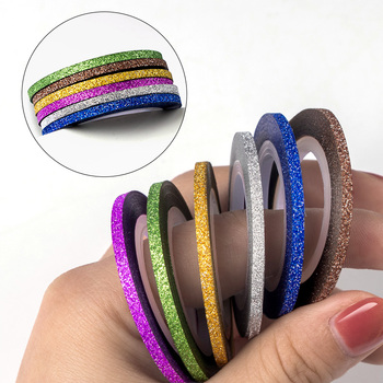 Matte Glitter Nail Striping Tape Set Mix Colors Rolls Striping Tape Line Nail Art Decoration Sticker DIY Nail Tips Nail Manicure image