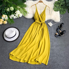 FTLZZ Sexy Backless Straps V neck Dress Maldives Holiday Dress Women Solid Color Thai Seaside Maxi Long Big Swing Fairy Dress