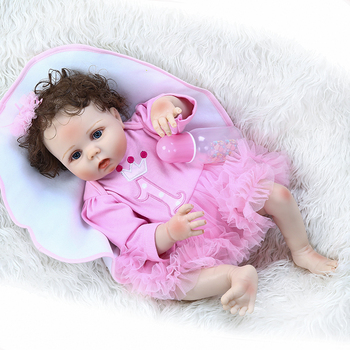 """Curly hair rooted full body silicone reborn baby doll 23"""" 57cm pink girl bebe reborn bonecas can bathe kids gift"""