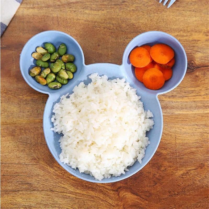 2 ชิ้น/เซ็ตเมาส์ Mickey การ์ตูนชามจานเด็กทารกข้าวชามขนมขบเคี้ยวพลาสติกจานชามกล่องอาหารกลางวัน