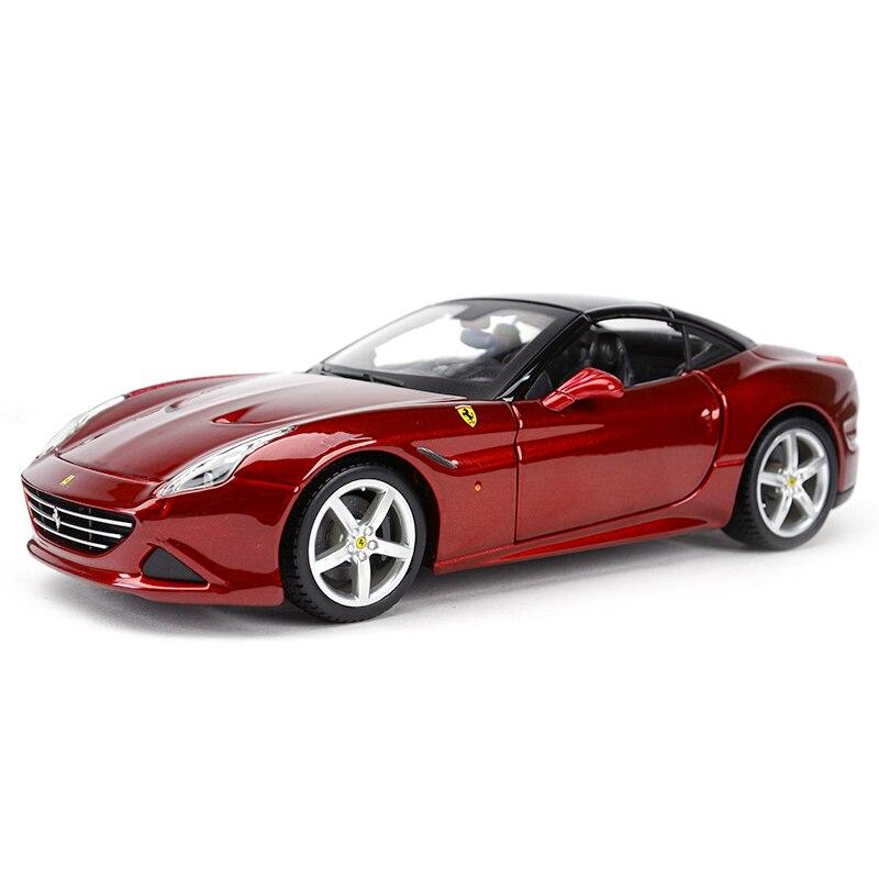 Bburago 1:24 Ferrari California T coche deportivo simulación estática Diecast aleación modelo Coche Oferta 1:32 cargador de coche Diecast Metal modelo coche sonido y luz Pull-back Vehículo de juguete para niños y niños regalo 4 colores