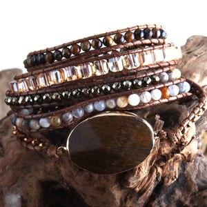 Image 5 - Bracelet en perles Boho, à la mode, fait à la main, pierres naturelles mélangées et pierres de cristal, charme, 5 bandes, cadeau pour femmes Bracelets denveloppement, collection livraison directe