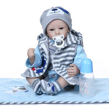 50CM bebe lifelike doll reborn baby boy doll realistic silicone soft touch adorable real newborn baby size cuddly baby weighte(China)
