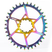 PASS QUEST GXP Titanium-plated Oval MTB Narrow Wide Chainring 32T-38T Bike Chainwheel 6mm Offset Crankset pass quest 94bcd titanium plated mtb narrow wide chainring chain ring 32t 34t 36t 38t 40t bike chainwheel chain wheel crankset