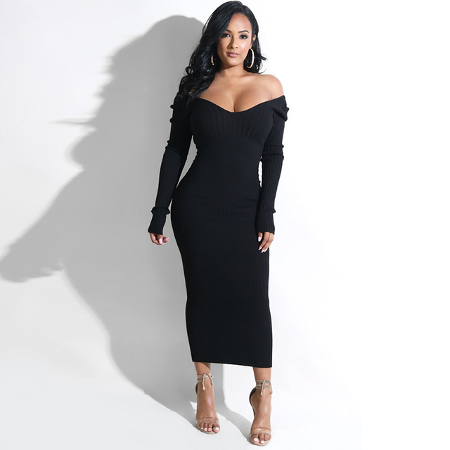 Sibybo Winter Ribbed Knitted Cotton Dress Women Off Shoulder Long Sleeve Sexy Bodycon Dresses Elastic Slim Party Vestidos 2020 4