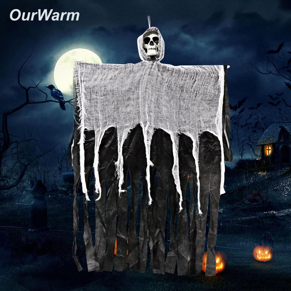US $3 99 OFF OurWarm Halloween Hanging Ghost Decorations Party Grim Reaper DIY for Home Haunted House Halloween Decoration Prop 100cm 60cm Party