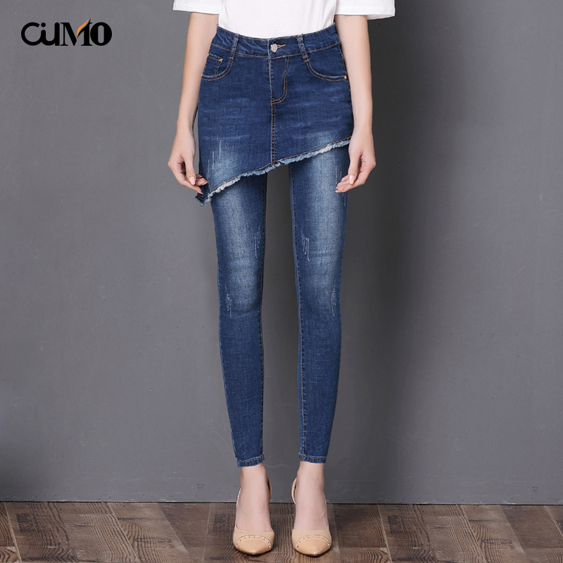 [OuMo] Brand Creative Jeans For Women's Blue Middle-waist Pencil Pants Skinny Women Jeans Skirt Slim Fit Women's Trousers