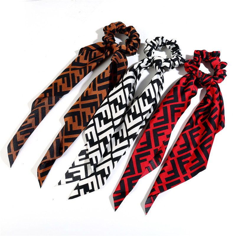 Vintage Plaid Scarf Long Ribbons Hair Accessories Women Fashion Elastic Ponytail Holder Scrunchies For Girls Tie Hair Bands 2019